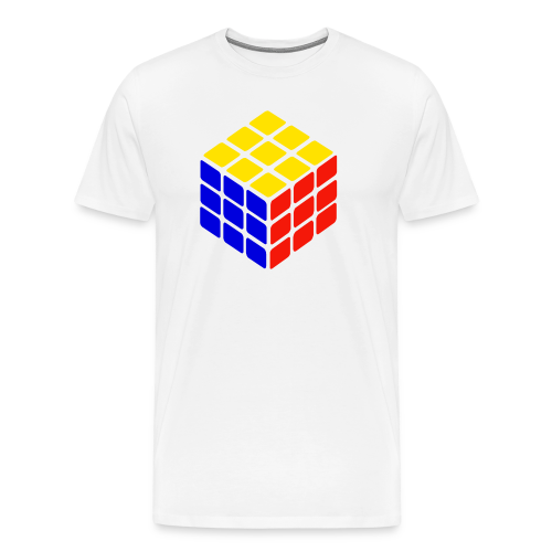 blue yellow red rubik's cube print - Mannen Premium T-shirt