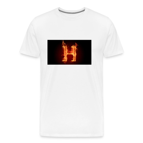 2560x1440-art_flaming_letter_h_digital_letter_fire - Premium T-skjorte for menn