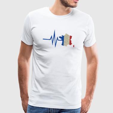 Mon cœur bat pour la France - les couleurs nationales - T-shirt Premium Homme