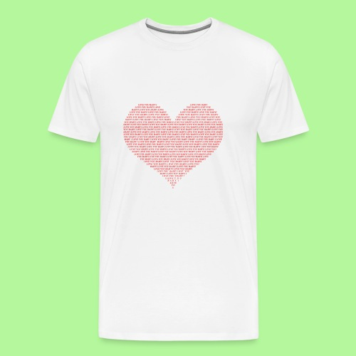 Typography Heart Shape Design Red Text I Love You - Men's Premium T-Shirt