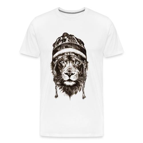 Löwe Mütze Schwarz König Tiere TShirt - Männer Premium T-Shirt