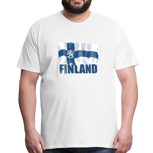 01-SUOMI LEIJONALIPPU - FINLAND LION FLAG - Miesten premium t-paita