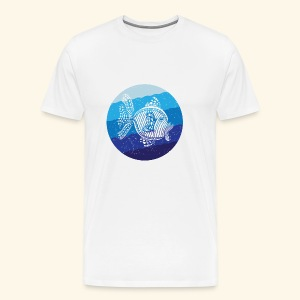 Stripey Sweetlips Fish Retro - Men's Premium T-Shirt