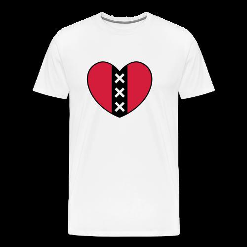 Hart met het symbool van de stad Amsterdam - Mannen Premium T-shirt