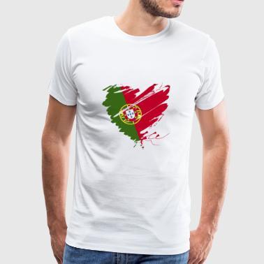 Corazón del Corazón Portugal Portuguesa de fútbol Fútbol - Camiseta premium hombre