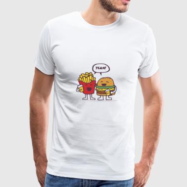 Burger und Pommes - beste Freunde Geschenk - Männer Premium T-Shirt