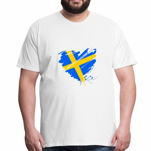 Schweden Skandinavien Europa Fahne Grunge Herz - Männer Premium T-Shirt
