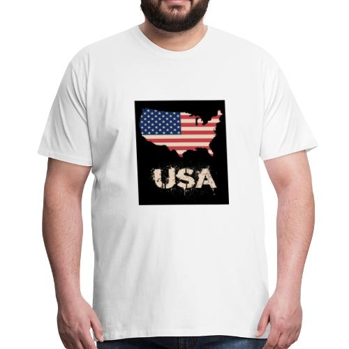 USA FLAG 4th of July With Flag - Premium-T-shirt herr