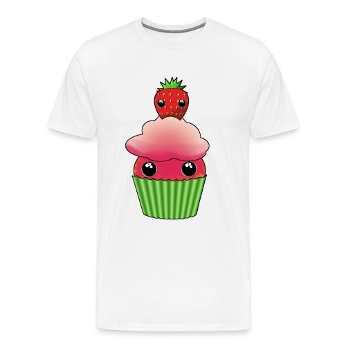 Kawaii cupcake with one strawberry - Premium-T-shirt herr