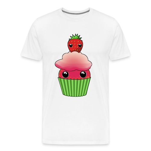 Kawaii cupcake with one strawberry - Premium-T-shirt herr