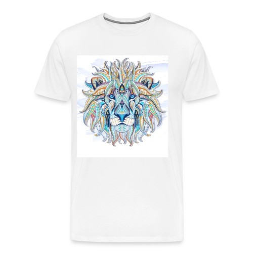 stock vector patterned head of the lion on the gru - Camiseta premium hombre