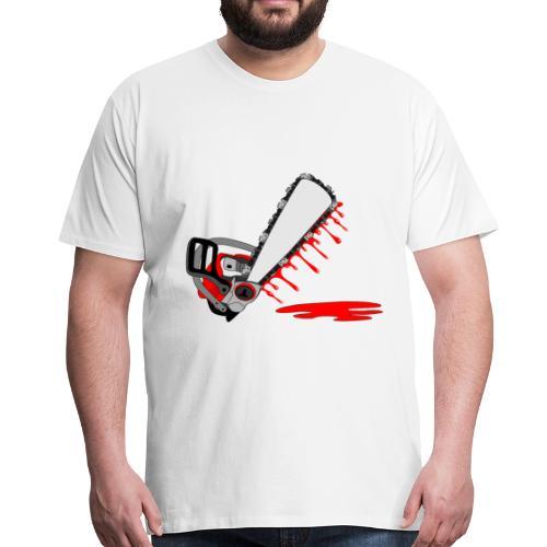 T shirt humeur tronçonneuse en sang votre texte FC - T-shirt Premium Homme
