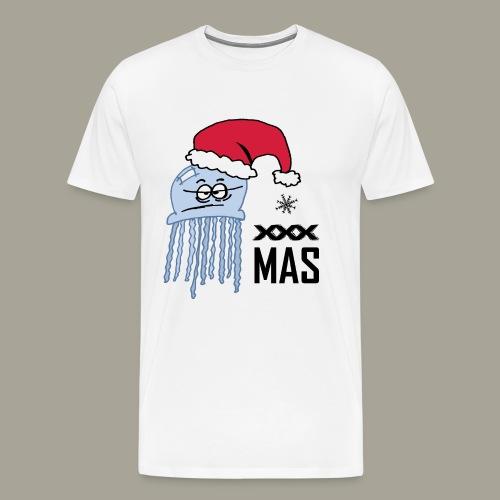 Qualle mit Weihnachtsmütze X MAS - Männer Premium T-Shirt