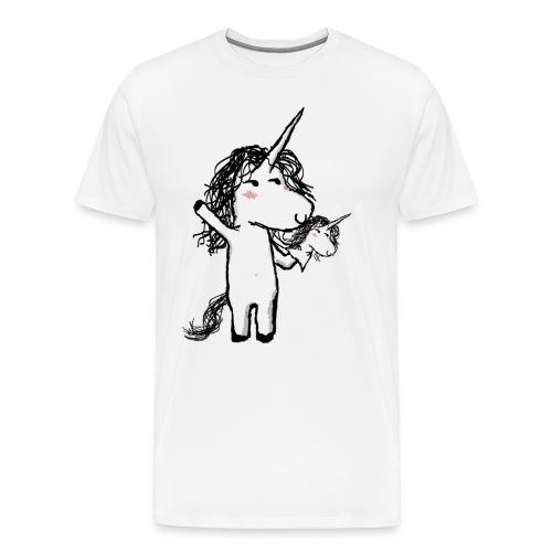 Unicorn with his friend happy - Men's Premium T-Shirt