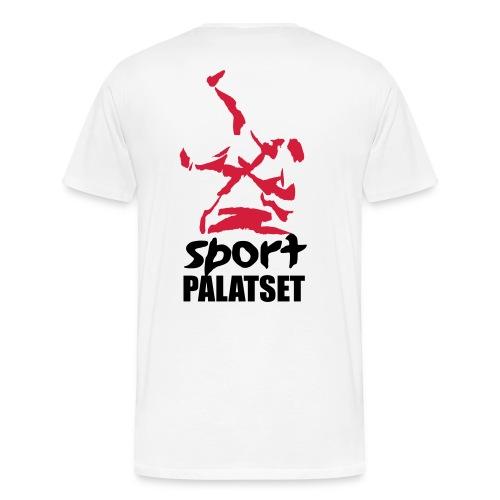 Motiv med svart och röd logga - Premium-T-shirt herr