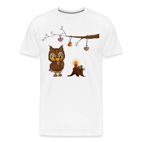 Eule feiert Weihnachten - Männer Premium T-Shirt