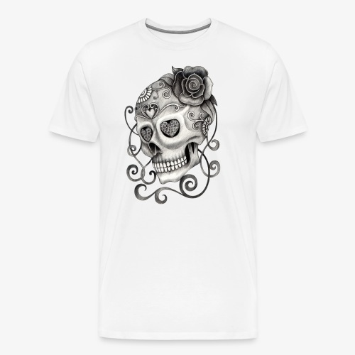 Totenkopf mit Rose Tattoo - Männer Premium T-Shirt