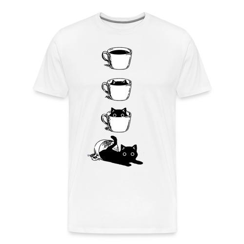 Süsse Katze in Kaffee Tasse - Männer Premium T-Shirt