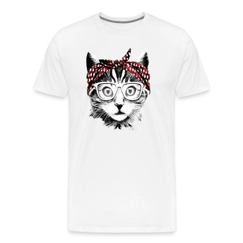 Coole Katze mit Kopftuch und Brille - Männer Premium T-Shirt