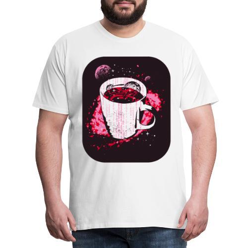 Kaffee in Astro Tasse mit Welten als Kekse - Männer Premium T-Shirt