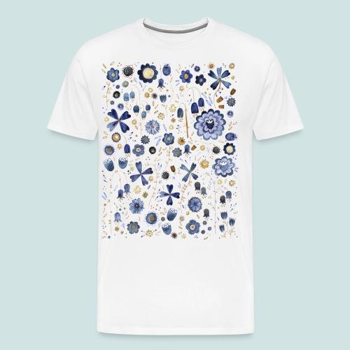 Indigo Flower Watercolour Mashup - Men's Premium T-Shirt