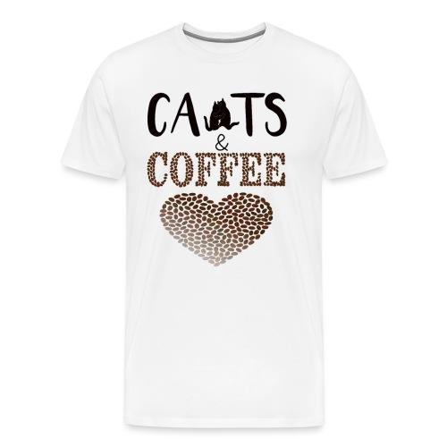 Katzen und Kaffee Schwarze Schrift - Männer Premium T-Shirt
