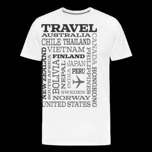 Travel Places Gray design - Miesten premium t-paita
