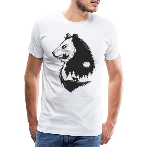 Bär Natur Silhouette Nadelwald mit Wolf und Mond - Männer Premium T-Shirt