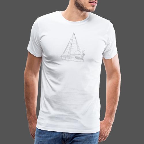 Zeichnung Segelboot Segel hoch - Männer Premium T-Shirt