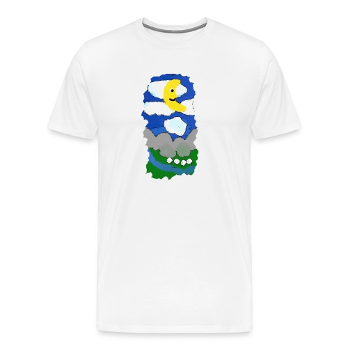 smiling moon and funny sheep - Men's Premium T-Shirt