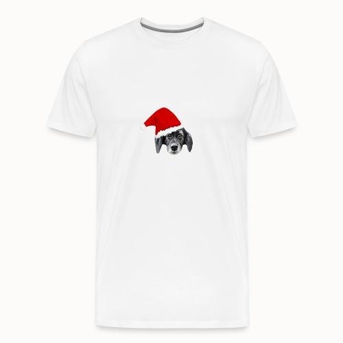 Weihnachten Hundekopf mit Mütze - Männer Premium T-Shirt