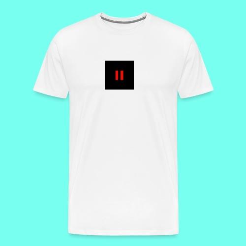 Red Pause Black Background - Men's Premium T-Shirt