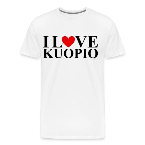 I LOVE KUOPIO (koko teksti, musta) - Miesten premium t-paita