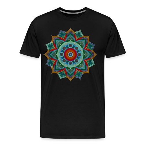 HANDPAN hang drum MANDALA blue red grey - Männer Premium T-Shirt