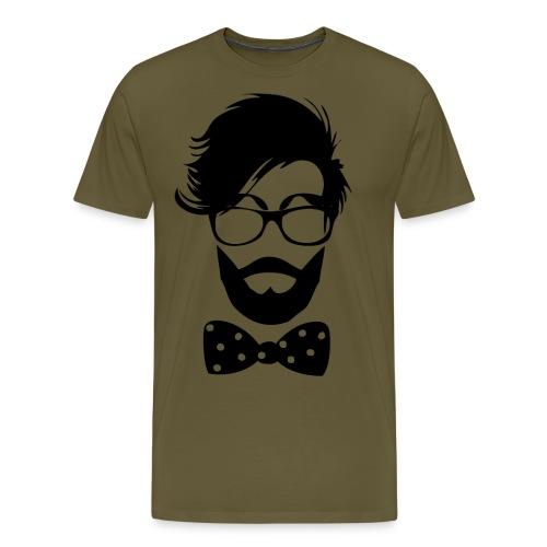 hipster_med_briller_og_butterfly - Herre premium T-shirt