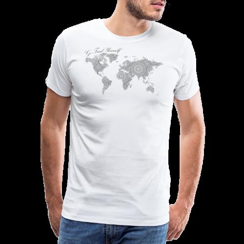 Go find yourself Weltkarte mit Mandala Schwarz - Männer Premium T-Shirt