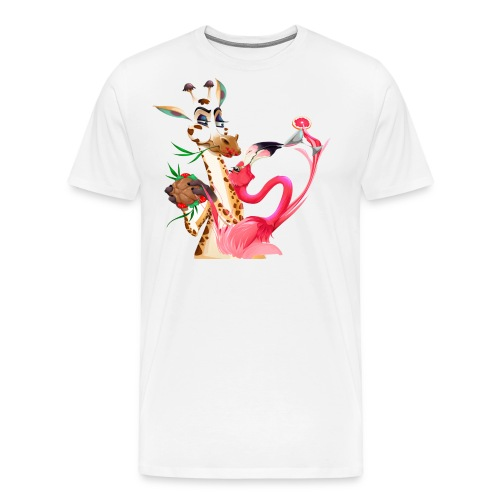 Giraffe und Flamingo in Partystimmung - Männer Premium T-Shirt