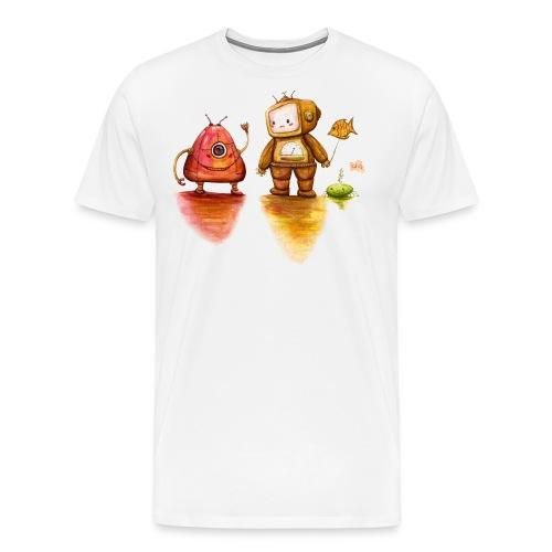 Robot Private Conversation - Mannen Premium T-shirt