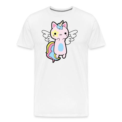 Gato Rosa Volador - Camiseta premium hombre