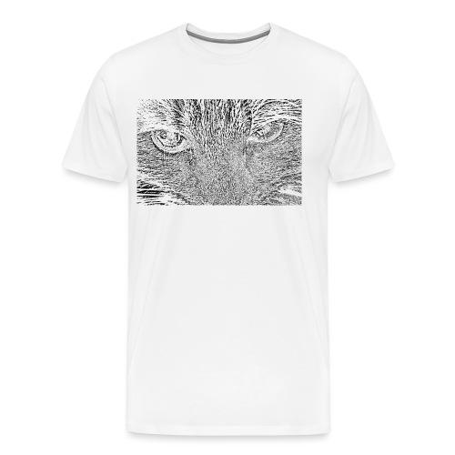 Kat kop (zwart) - Mannen Premium T-shirt