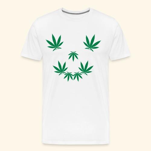 Hanfblatt Weed Gesicht | Cannabis Raucher Geschenk - Men's Premium T-Shirt