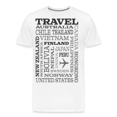 Travel Places Gray design - Miesten premium t-paita