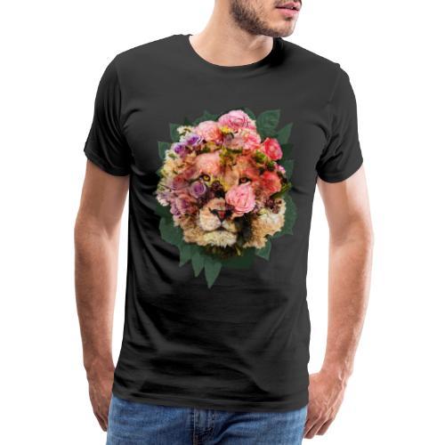 Ritratto leone fiori in doppia esposizione - Maglietta Premium da uomo