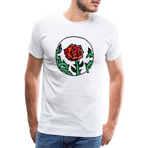 Rose Rouge Piquante en Médaillon - T-shirt Premium Homme