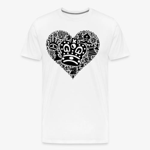 Schachfiguren im Herz | Schachspieler Geschenkidee - Männer Premium T-Shirt