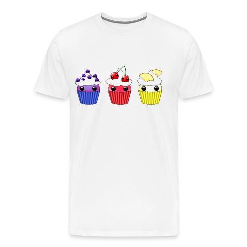 three kawaii cupcakes blueberry cherry lemon - Men's Premium T-Shirt