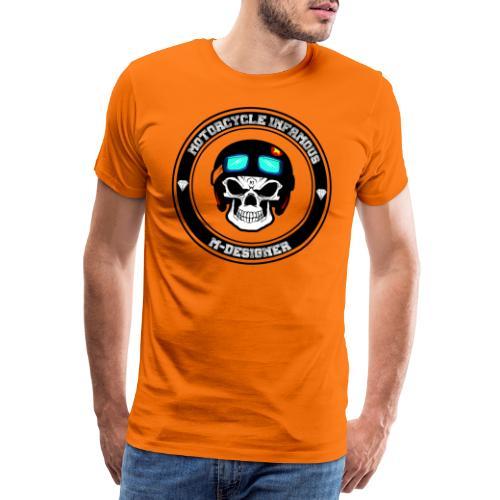 calavera con casco de moto impresa en playera - Camiseta premium hombre