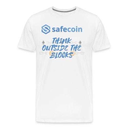 SafeCoin; think outside the blocks (blue) - Men's Premium T-Shirt