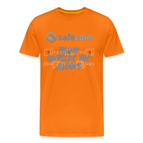 SafeCoin; think outside the blocks (blue) - Men's Premium T-Shirt