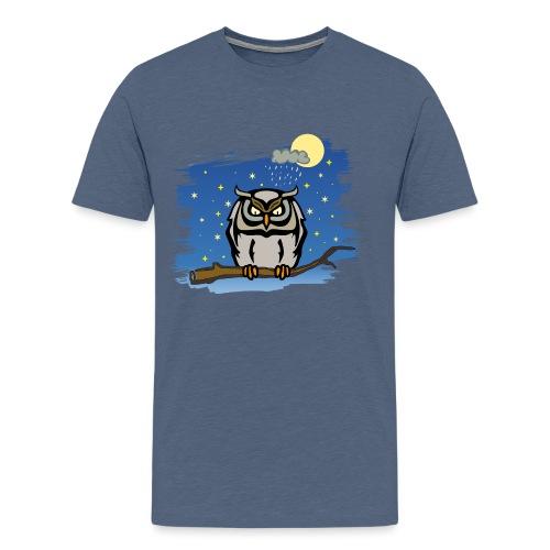 Eule Uhu Nachtschwärmer Vollmond Regenwolke Sterne - Männer Premium T-Shirt